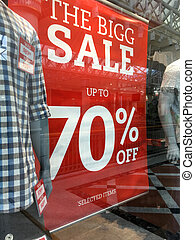 mens, mode, boutique, verkoop teken