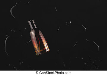 Men's perfume among the water on a black background. Stylish trending photo