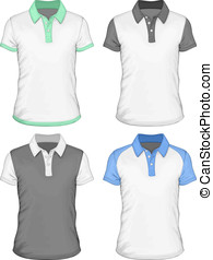 Men's polo-shirt design templates (front view). Vector...