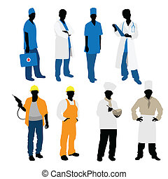Mens professions silhouettes - Vector illustration of a mens...