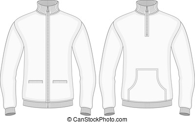 Men's roll-neck sweaters with zip and pockets (front view). ...