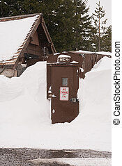 Mens Room Winter Snow Storm Crater Lake Oregon - The walkway...