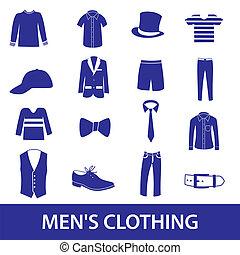 mens, roupa, ícone, jogo, eps10