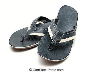 mens, sandaler, på, en, hvid baggrund