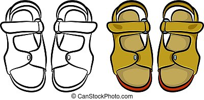 a pair of generic style male sandals