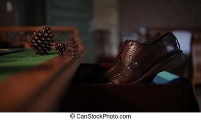 Men's shoes of the groom on the wedding day before the...