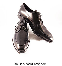 Mens shoes - Close up of elegant mens shoes on white...