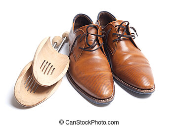 Mens shoes with stretchers - Brown leather mens shoes with...