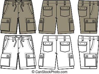 mens, shorts, em, diferente, vista lateral