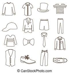 mens, simples, esboço, roupa, ícone, jogo, eps10