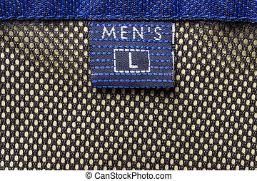 Men's size clothing label