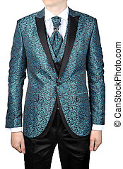 Mens suit with floristic pattern, wedding attire, isolated on wh