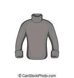 Mens sweater icon, black monochrome style