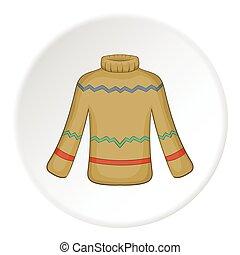 Mens sweater icon, cartoon style