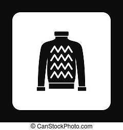 Mens sweater icon, simple style