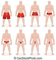 Mens Swimwear Styles - Mens swimwear - different swim trunks...