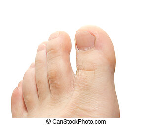 men's toes on a white background