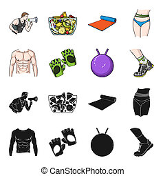 Men's torso, gymnastic gloves, jumping ball, sneakers. Fitnes set collection icons in black,cartoon style bitmap symbol stock illustration web.