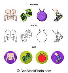 Men's torso, gymnastic gloves, jumping ball, sneakers. Fitnes set collection icons in cartoon, outline, flat style bitmap symbol stock illustration web.