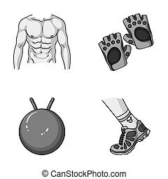 Men's torso, gymnastic gloves, jumping ball, sneakers. Fitnes set collection icons in monochromet style raster, bitmap symbol stock illustration web.
