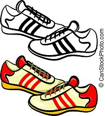 mens trainers - a pair of generic style male sneakers