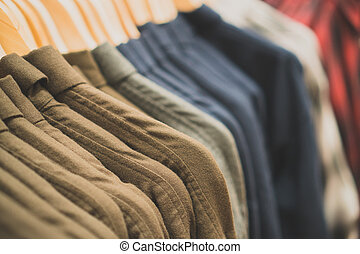 Men's warm shirts in a clothing store.