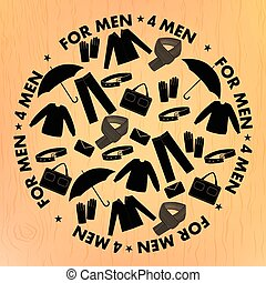 Mens wear and accessories shapes pattern.