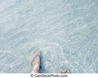 Men's wear sandals walking on the beach. With sea waves coming in