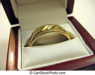 Mens Wedding Band - A yellow gold mens wedding band inside...