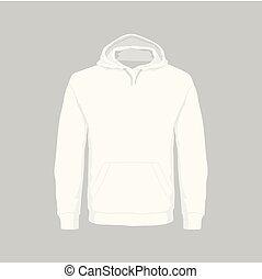 Men's white hooded sweatshirt - Front views of men's white...