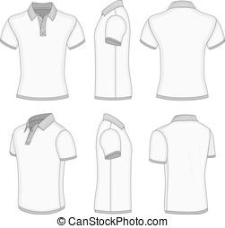 Men's white short sleeve polo shirt. - All views men's white...