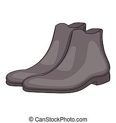 Mens winter boot icon, cartoon style