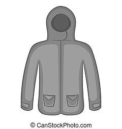 Mens winter jacket icon, black monochrome style