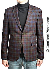 Mens woolen blazer suit  checkered, isolated image on white back