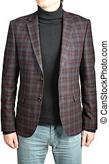 mens  woolen suit blazer checkered,  in combination with jeans