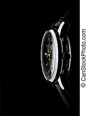 men's wrist watch on black