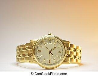 mens wrist watch - isolated mans wrist watch