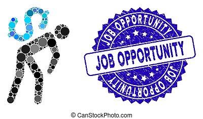 mensageiro, dinheiro, colagem, ícone, trabalho, angústia, oportunidade, selo