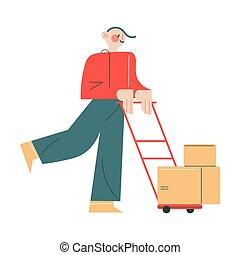 mensageiro, uniforme, caixas, ordem, sorrindo, carreta, trabalhando, rolando