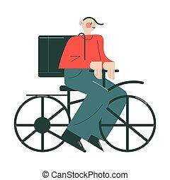 mensageiro, uniforme, caixas, sorrindo, ordens, bicicleta, trabalhando, entregar