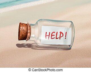 mensagem, ajuda, garrafa