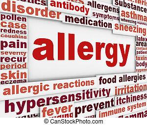 mensagem, alergia, fundo