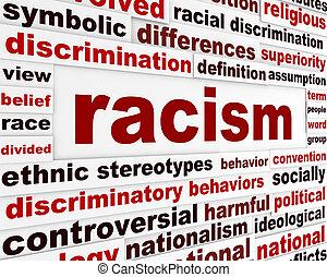 mensagem, aviso, racismo, humanidade