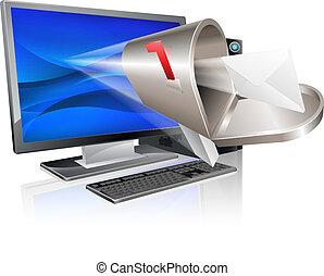 mensagem, conceito, computador, email