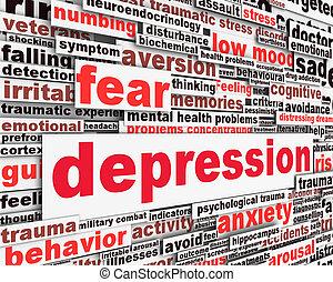 mensagem, conceito, isolado, depressão