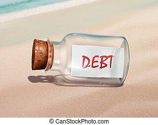 mensagem, dívida, garrafa