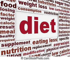 mensagem, desenho, dieta, fundo