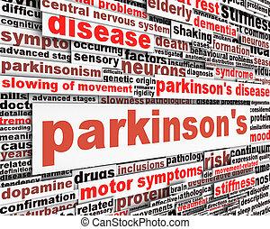 mensagem, desenho, doença, parkinson's