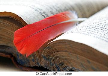mensagem, livro, antigas, pena
