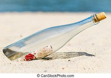 mensagem, praia, garrafa